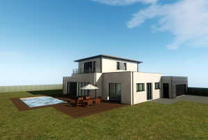 3D plan of a house and pool