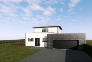 3D plan of a house and its garage