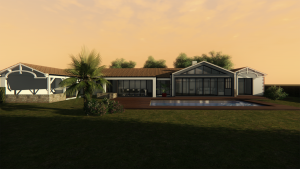 3D plan of a house and pool (sunset)
