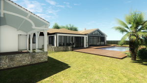 3D plan of a house and pool (daylight)